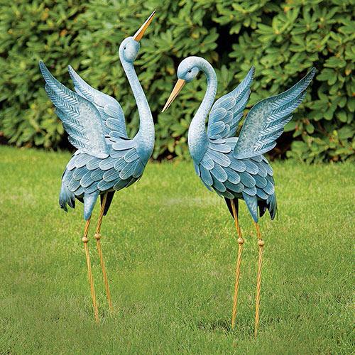 Japanese Blue Herons Animal Garden Sculptures - Set of 2