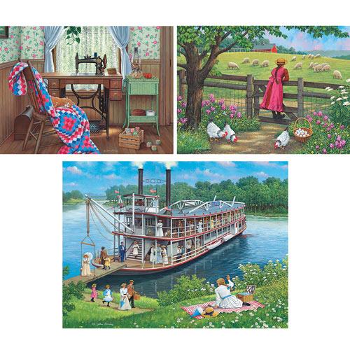 Set of 3: Pre-Boxed John Sloane 300 Large Piece Jigsaw Puzzles