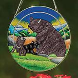 Bear Family Art Glass Suncatcher