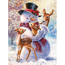 Snowman And Fawns 500 Piece Glitter Effect Jigsaw Puzzle