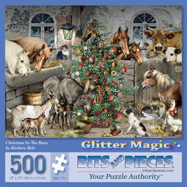 Christmas In The Barn 500 Piece Glitter Effect Jigsaw Puzzle