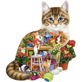 Kittens In The Shed 750 Piece Shaped Jigsaw Puzzle