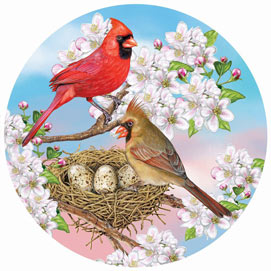 Cardinals In Spring 1000 Piece Round Jigsaw Puzzle