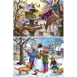 Set of 2: Winter Cheer 500 Piece Jigsaw Puzzle