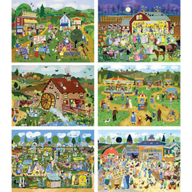 Set of 6 : Country Charm 1000 Piece Jigsaw Puzzles
