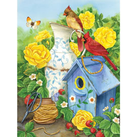 Cardinals And Yellow Roses 500 Piece Jigsaw Puzzle
