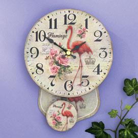 Antique Style Flamingo Pendulum Wall Clock