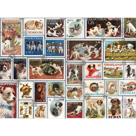 Dog Stamps Quilt 300 Large Piece Jigsaw Puzzle