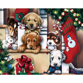 Christmas Puppies On The Loose 500 Piece Jigsaw Puzzle