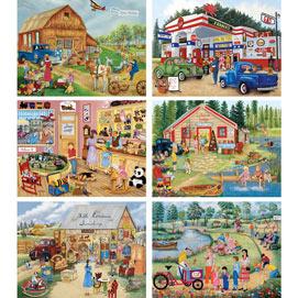Set of 6: Kay Lamb Shannon 300 Large Piece Jigsaw Puzzles