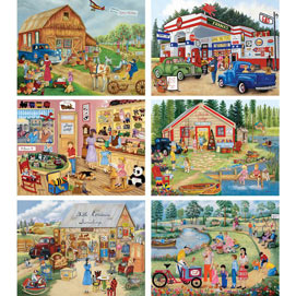 Set of 6 : Kay Lamb Shannon 500 Large Piece Jigsaw Puzzles