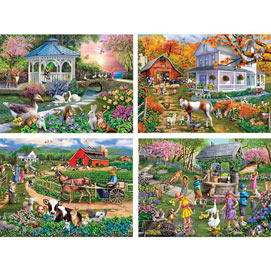 Set of 4 : Mary Thompson 300 Large Piece Jigsaw Puzzles