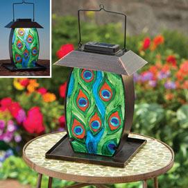 Peacock Feathers Solar Lantern