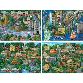 Set of 4: Joseph Burgess City Views 300 Large Piece Jigsaw Puzzles