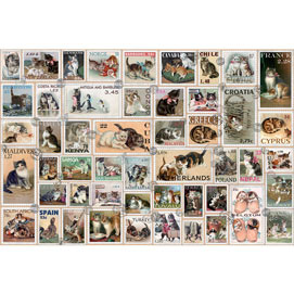 Cat Stamps Quilt 1000 Piece Giant Jigsaw Puzzle
