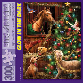 Christmas Barn 300 Large Piece Glow-In-The Dark Jigsaw Puzzle