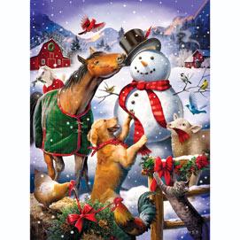 Christmas Barn Snowman 500 Piece Jigsaw Puzzle