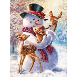 Snowman And Fawns 1000 Piece Jigsaw Puzzle