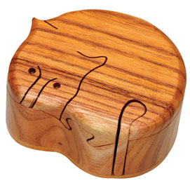 Wooden Cat Puzzle Box - Cat Puzzle Box