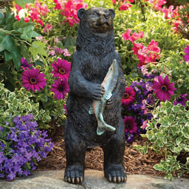 Black Bear Sound Sensor Garden Scuplture