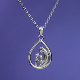 Mother & 2 Child Sterling Pendant Necklace