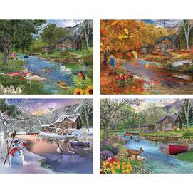 Set of 4: Bigelow Illustration 300 Large Piece Jigsaw Puzzles