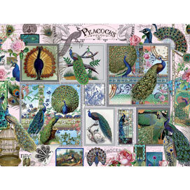 Peacock Collage 500 Piece Jigsaw Puzzle