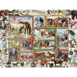 Horses Collage 500 Piece Giant Jigsaw Puzzle