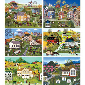 Set of 6: Linda Nelson 300 Large Piece Jigsaw Puzzles
