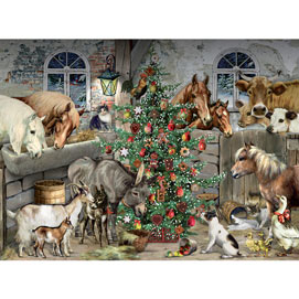 Christmas In The Barn 1000 Piece Glitter Effect Jigsaw Puzzle