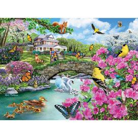 Crossing The Footbridge 300 Large Piece Jigsaw Puzzle