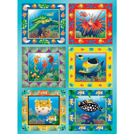 Ocean Life Quilt 300 Large Piece Jigsaw Puzzle