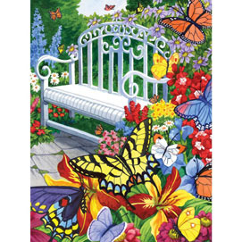 Garden Full Of Butterflies 300 Large Piece Jigsaw Puzzle