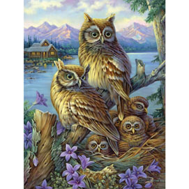 Owls In The Wilderness 300 Large Piece Jigsaw Puzzle