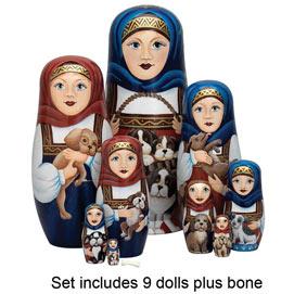 Set of All 10 Dolls : Nesting Dog Ladies