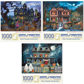 Preboxed Set of 3: Halloween 1000 Piece Jigsaw Puzzles