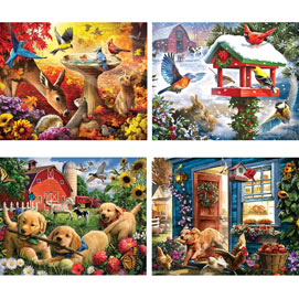 Country Living 4-in-1 Multi-Pack 500 Piece Puzzle Set