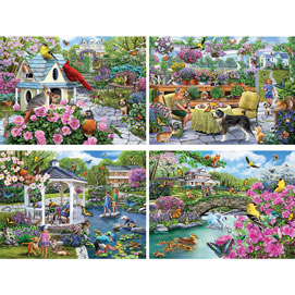 Glorious Gardens 4-in-1 Multi-Pack 500 Piece Puzzle Set