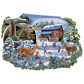 Forest Friends By The Old Mill 750 Piece Shaped Jigsaw Puzzle