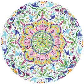 Blue Bird Kaleidoscope 300 Large Piece Round Jigsaw Puzzle