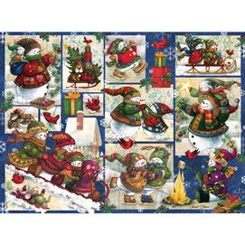 Snow Families Quilt 1000 Piece Jigsaw Puzzle