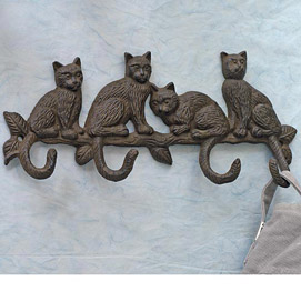 Cast-Iron Cat Coat Rack