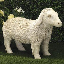 White Little Lamb Garden Sculpture