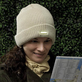 Knit Hat With Led Light -Tan