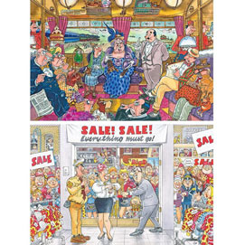 Set of 2: Train Robbery and Everything Must Go Wasgij 1000 Piece Puzzles