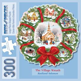 Christmas Village Wreath 300 Large Piece Shaped Jigsaw Puzzle