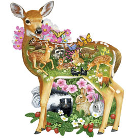 Forest Baby Friends 750 Piece Shaped Jigsaw Puzzle