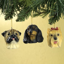 Brown Pug Christmas Ornaments