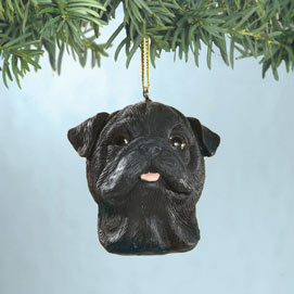 Black Pug Christmas Ornaments