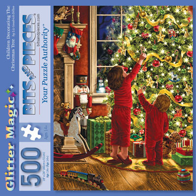 Children Decorating The Christmas Tree 500 Piece Glitter Effect Jigsaw Puzzle